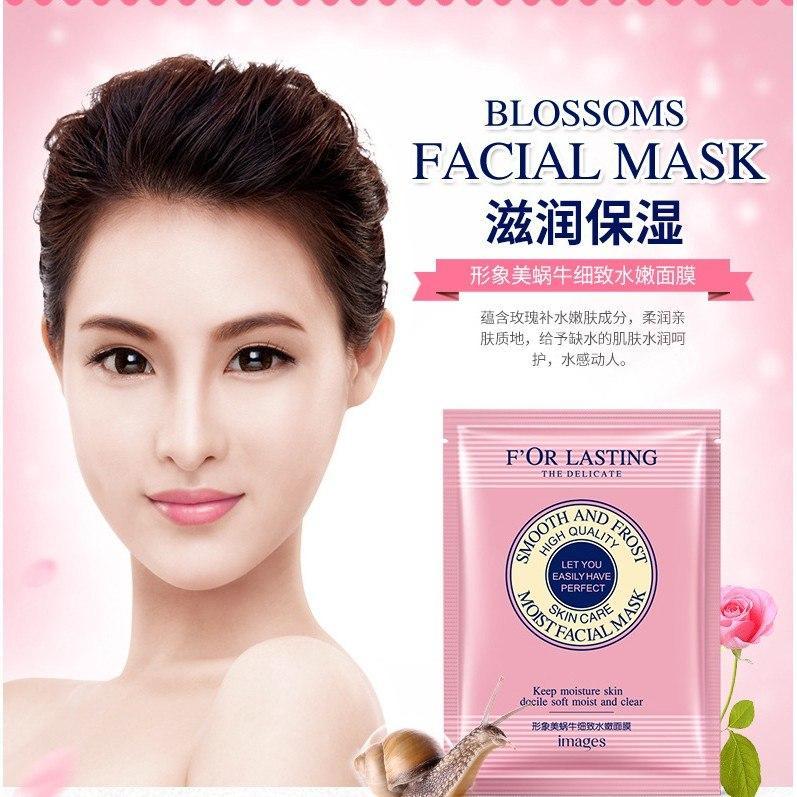 ماسک - ورقه ای - صورتی - حلزون - گل رز-